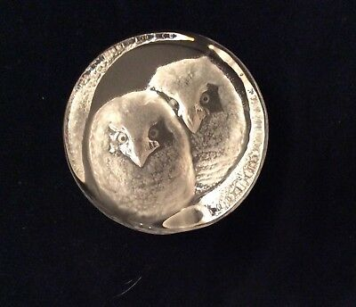 Mats Jonasson Sweden Paperweight Of 2 Baby Owls Signed & Numbered! Best Price!!!