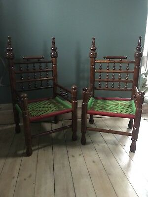 A Pair Of Decorative Wood Chairs - Unique, Ethnic, Tribal, Vintage, Thrones