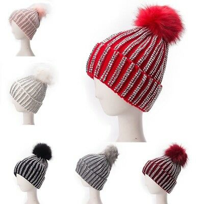 9cfbc4b4a3f Ladies Faux Fur Pom Pom Rhinestones Beads Beanie Turn Up Slouch Cap Knitted  A469