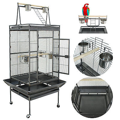 """68"""" Large Bird Pet Cage Large Play Top Parrot Finch Cage Macaw Cockatoo 3 Doors"""