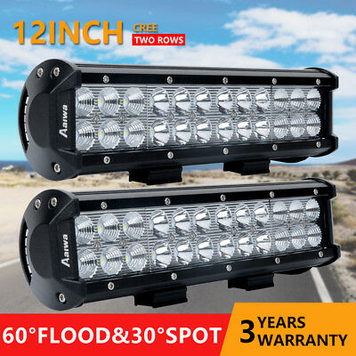 2x 12inch 120W CREE LED Work Light Bar Spot Flood Offroad 4WD Driving Lamp SUV