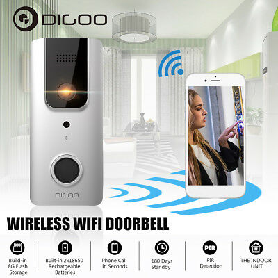 Digoo Kit Videocitofono 1080P Hd P2P Wifi 120° Wireless Telecamera Ir Connetti