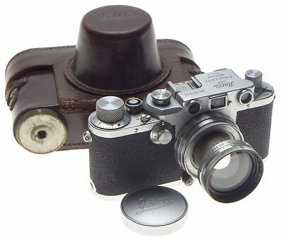 LEICA IIIc shark skin 35mm rangefinder camera Summitar f=5cm 1:2 case caps 2/50