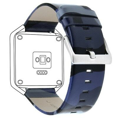 (Large: 17cm  - 21cm , Camo Blue (Leather Band)) - Henoda for Fitbit Blaze