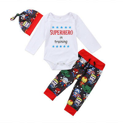 AU STock Newborn Baby Boys Girl Superhero Romper Jumpsuit Pants Outfits Clothes