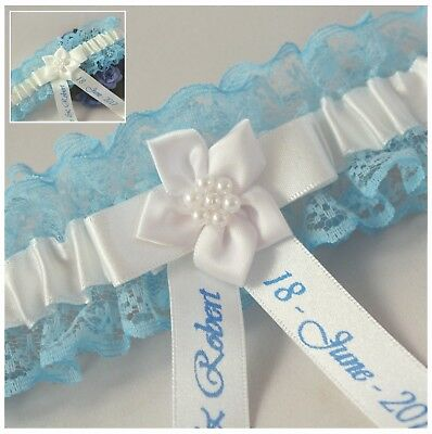 *personalised* Blue Lace & Satin Bridal Garters. With Ivory Or White Trim.