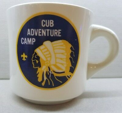 Cub Scout Mug Adventure Camp Native American Indian USA Pottery Vintage 8 oz BSA