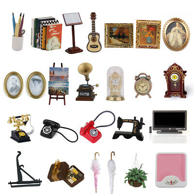 12th Doll House Item Furniture Miniature Art Mural Clock Book Plants Decoration