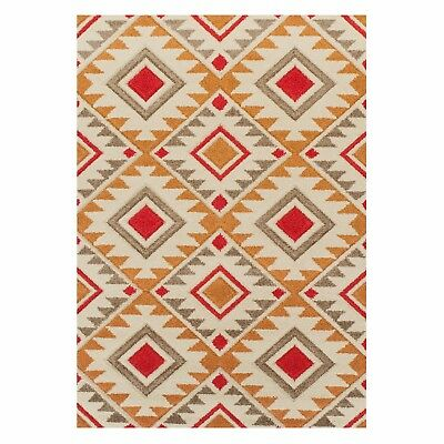Geometric CREAM RED RUST Abstract Easycar Modern Contemporary NonShed Rug Runner