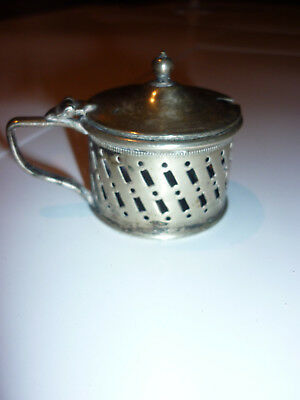 Antique silver plated mustard pot early 1900's
