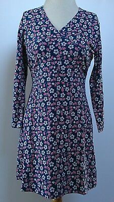 Ex-Seasalt Navy & Red Floral Jersey Tunic Top Organic Cotton  Bnwot Sizes 8-18