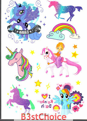 UK Colorful fairy Unicorn Girl Kid Party crystal shiny Glitter Temporary Tattoo