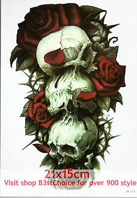 07d1b817f8232 UK 21X15CM BROKEN clock skull Half Sleeve Temporary Tattoo ARM BACK ...