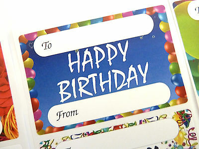 Happy Birthday Gift and Present Tags, Self-Adhesive Labels, 9 Designs, GTHB9