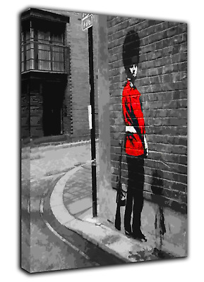 Banksy Queens Guard Wall Art   Picture  Print On Framed Canvas Home Decoration