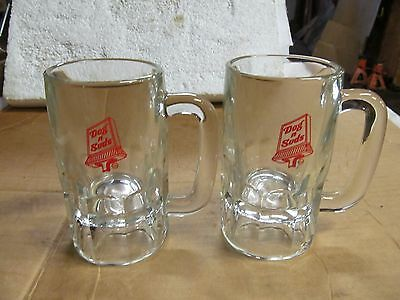 """(2) Dog 'N' Suds Sign Heavy Glass Crystal Root Beer Mugs, 5-1/2"""" Tall, 9 OZ."""