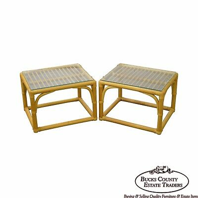 McGuire Style Pair of Rattan Bamboo Glass Top Side Tables