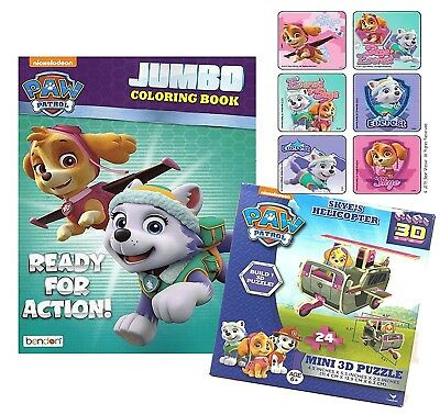 "Paw Patrol Girls ""Ready For Action"" Jumbo Colouring Book, Stickers & 3D Puzzle"