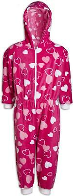 Camille Childrens Fleece Heart Print Fleece Hooded All In One Pink Pyjama
