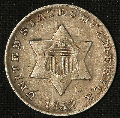 1852 Three-Cent Silver Piece- Free Shipping USA