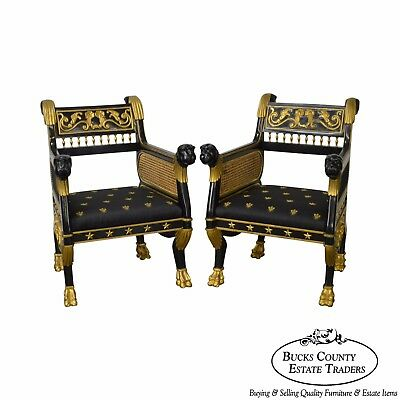 Regency Style Ebonized & Partial Gilt Pair of Lion Head Library Arm Chairs