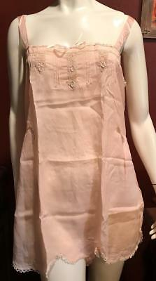 1920s Peach Silk and Lace One Piece Step-in Chemise Teddy NOS