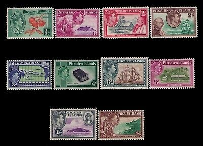 Pitcairn Islands 1940-51 KGVI issue Sc #1-8 Cpl.MH/MNH Cpl. set,CV:$64.00
