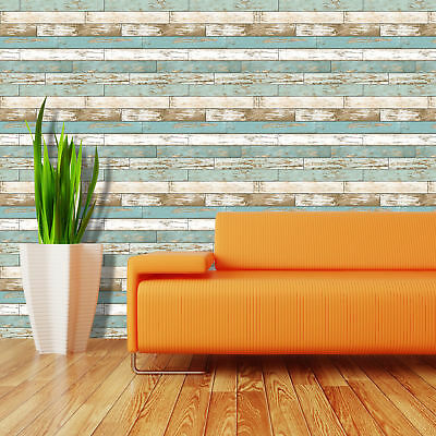 Wood Style Wallpaper A Street Prints Wooden Distressed Look Rustic Teal White