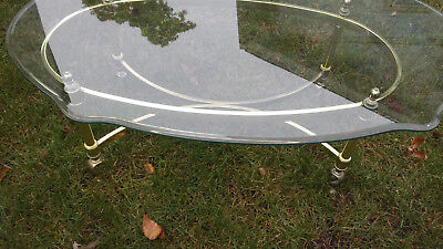 Vintage Mid Century Modern Brass and Glass Coffee Table S Curved Leg