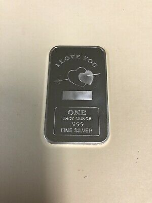 1 Troy Oz .999 Fine Silver I Love You Silver Bar