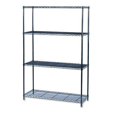 Safco Industrial Wire Shelving Starter Kit Four-Shelf 48w x 18d x 72h Black