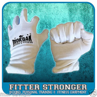MORGAN BOXING GLOVE COTTON INNERS Sweat liner inserts hygeine white UNISEX NEW