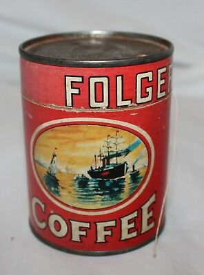 Vintage 1950's Retro Folgers Coffee Puzzle Tin With Puzzle!  All There!