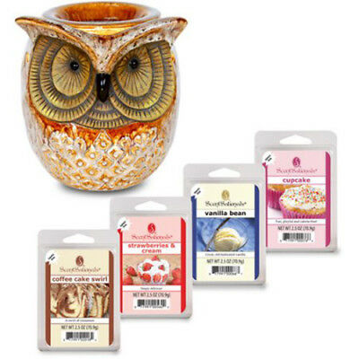 BRAND NEW ScentSationals Scentsy Full Size Spotted OWL Wax Warmer SC-236 w/ Wax