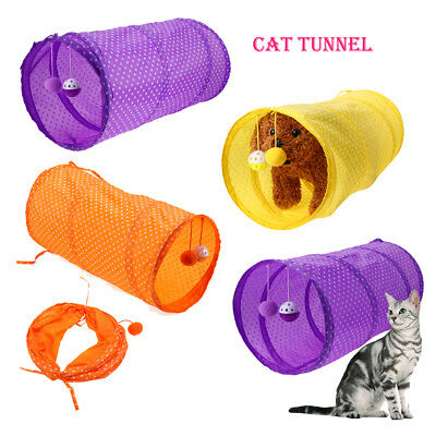 Pet Cat Tunnel Toy Folding Collapsible Tunnel Kitten Dog Rabbit Play w/ Ball
