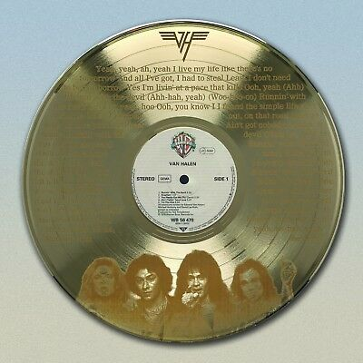 "Van Halen Gold LP laser etched w/ ""Running With The Devil"" Wall Art ""M4"""