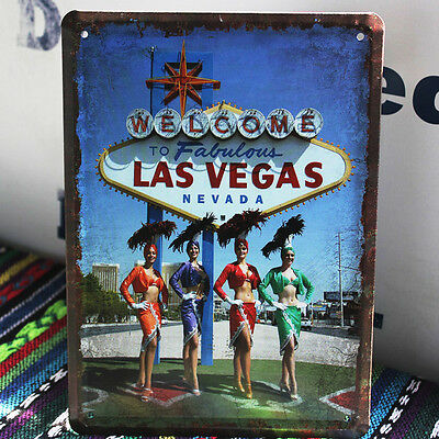 Welcome to FABULOUS Las Vegas Nevada Casino Sexy Pin Up Metal Tin Sign Decor ad