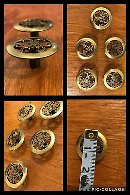 5 Knobs Pulls Round Antique Brass Flower French Provincial Cabinet Drawer Retro