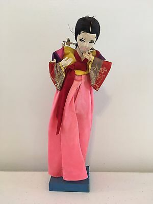 "Vintage 11.5"" Chinese Oriental Asian Japanese Mounted Kimono Cloth Doll"