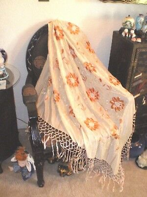Old China CANTON Hand Embroidered Off White/Coral Silk Shawl Piano Scarf/Fringe