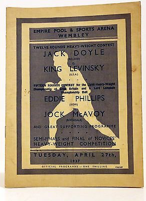 Vintage Boxing Programme, Empire Sports Arena - Jack Doyle VS King Levinsky 1937