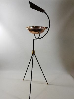 Standing Ashtray 70er Vintage String Tripot Tripod Brass Teak Copper