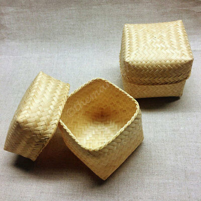 Set of 6 Woven Bamboo Baskets, Sticky Rice Baskets, Square Shape, Handmade - NEW