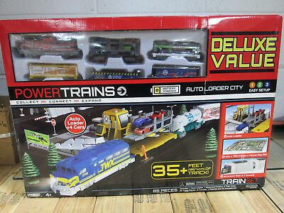 Power Trains Auto Loader City Deluxe Value 85 Piece Set, 35 ft of Track