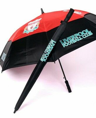 Liverpool Fc - Tour Vent Golf Umbrella - Double Canopy - Black & Red - Brand New