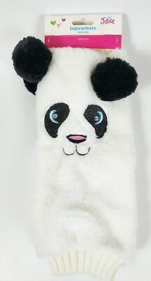 New Justice Furry Black White Panda Bear Girl's Leg Warmers One Pair One Size