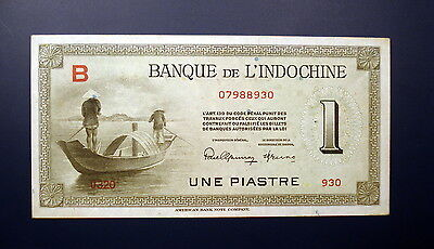 French Indo-China N.D. (1945) 1 Piastre P-76 - AU