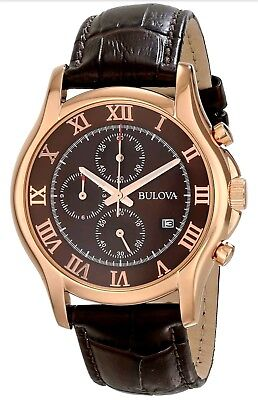 Bulova Men's 97B120 Chronograph Rose-Gold Watch Brown Leather Strap 42MM in Box