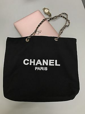 🌟Auth CC VIP gift black canvas tote bag with gold hardware 🌟