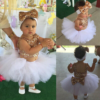 AU Kids Baby Girl Sequins Tops+Tutu Skirts 3pcs Outfits Set Party Dress Clothing